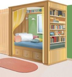 Built-in bed. This article has an outline of a few surprisingly simple techniques and a basic plan for constructing the bed Alcove Bed, Bed Nook, Home Bedroom, Kids Bedroom, Bedroom Decor, Lego Bedroom, Bedrooms, Kids Rooms, Enclosed Bed