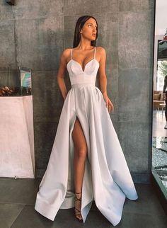 Stunning Prom Dresses, Pretty Prom Dresses, Ball Dresses, Dance Dresses, Elegant Dresses, Silver Prom Dresses, Split Prom Dresses, Grey Prom Dress, Mermaid Dresses