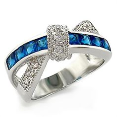 Sapphire CZ Cross Bezel ring sz 5,6,7,8,9,10 available - Designs By Bella of New York
