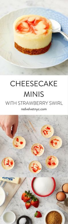These New York style cheesecakes have a strawberry swirl and graham cracker crust. These mini treats are perfect for springtime parties and Easter celebrations! Includes 12 oven-safe red and white baking cups.