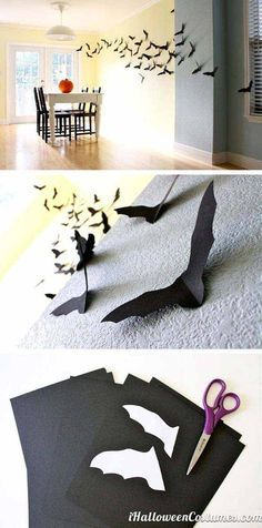Wall paper bats - Last-Minute Cheap DIY Halloween Decorations You Can Easily…