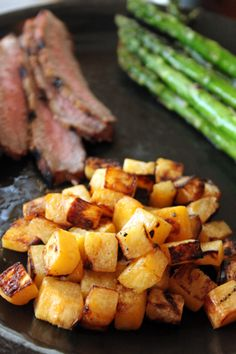 Roasted Rutabaga from Greenlite Bites - and a nutrition comparison between rutabaga and potatoes - a lot fewer calories and carbs Paleo Recipes, Gourmet Recipes, Real Food Recipes, Cooking Recipes, Side Dish Recipes, Vegetable Recipes, Roasted Rutabaga, Rutabaga Recipes, Vegetable Side Dishes