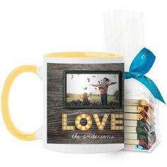Photo Real Love Mug, Yellow, with Ghirardelli Assorted Squares, 11 oz, Brown