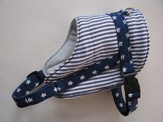 Hund: Geschirr - L Hundegeschirr 44-54cm U blau Streifen Sternchen - ein Designerstück von hundeschneiderin-de bei DaWanda