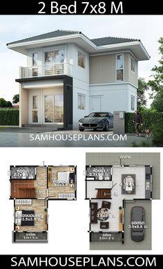 House Plans idea with 2 bedrooms - Sam House Plans 3d House Plans, Model House Plan, Duplex House Plans, Craftsman House Plans, Bedroom House Plans, Dream House Plans, Small House Plans, Simple House Design, House Design Photos