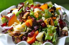 Salad with Fresh Peaches, Drunken Craisins, Gorgonzola, Sweet Roasted Pistachios, with Fig & White Balsamic Vinaigrette