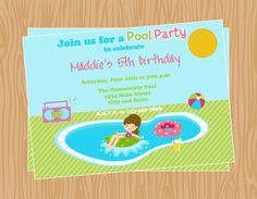 Printable Girl Pool Party Birthday InvitationDIY by BusyBeeDesign1