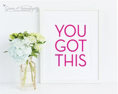 You Got This Pink Foil Print  real foil by GraceSerendipityShop