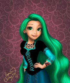 Punk Disney Princess Rapunzel. Love the hair color.my daughter loves doing this, lol.