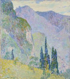 """""""Mountain of Como,"""" George Loftus Noyes, oil on canvas, 16 1/4 x 15"""", private collection."""