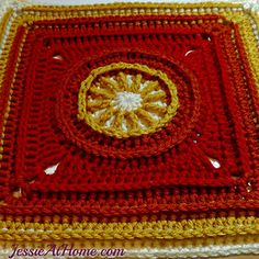 """The Flame Square is full of post stitches and awesome texture! Grab your """"I"""" hook and Vanna's choice yarn in these firey colors and create this bright square for yourself. This square would also look wonderful in one solid color. Make several in each of 3 or 4 neutral colors and join them into a unisex blanket sure to wrap anyone in love! I have included a link for a post st tutorial (along with links for tutorials for most of the other sts) and a chart to help you along."""