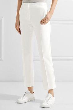 Max Mara - Cropped Cotton-twill Straight-leg Pants - White - UK10