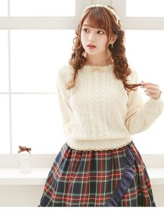 dreamv | Rakuten Global Market: Top heart cable knit serterscalapribongurleynitpur over long-sleeved simple cute casual cute dress-bigger size crew neck fall/winter, off-white cream pink brown white solid/m L LL 3 l and offers more! Women's dream vision