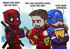 Language!  Deadpool asks Iron Man and Captain America how they liked his movie - Visit to grab an amazing super hero shirt now on sale!