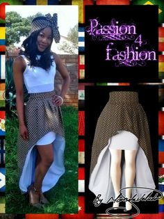 High waisted 2 in 1 high low traditional skirt with Xhosa print. Inside of the high low lined with white. With an attached mini white skirt. Traditional Skirts, African Traditional Dresses, Traditional Outfits, Modern Traditional, Traditional Wedding, Ethnic Fashion, African Fashion, White Skirts, Mini Skirts