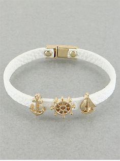 White Sail Away Leather Bracelet from P.S. I Love You More Boutique
