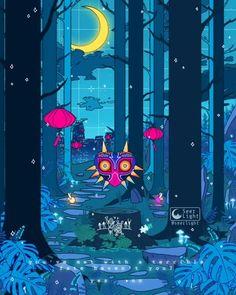 'Majora's Mask' 🌚 - The Legend of Zelda Arte 8 Bits, Japon Illustration, Website Illustration, 8bit Art, Vaporwave Art, The Legend Of Zelda, Christmas Drawing, Animes Wallpapers, Video Game Art