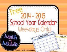 Stay organized this year with this FREE 2014-2015 school year calendar. This monthly calendar goes from August to June and includes weekdays only!