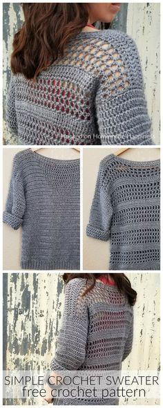 Patrón simple de suéter de crochet: ¡hacer tus propios suéteres es más fácil de lo que crees! ¡Simplemente comienza con 2 rectángulos y agrega algunas mangas!