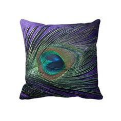 Custom Throw Pillow - Silky Purple Peacock Feather Still Life Throw. Peacock Living Room, Peacock Bedroom, Peacock Pillow, Peacock Decor, Peacock Theme, Peacock Art, Peacock Feathers, Peacock Nursery, Feather Art