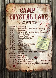 9e87f5648 Friday The 13th 'Camp Crystal Lake Activity Poster' A3 Size (Jason Vorhees)