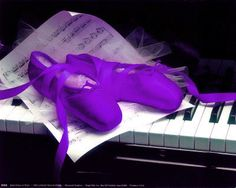 Purple Pointe Shoes and Piano, via Flickr.