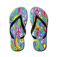 A colorful modern peace design is imprinted on these flip flops.
