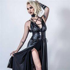 Oya lange jurk met split detail zwart