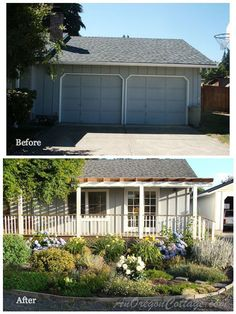 A ranch home remodel before and after: converting a garage and adding a long porch - Front-Porch-Ideas-and-More.com #porch