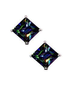 Rainbow Peacock Multi Color Square Princess Cut CZ Basket Set Sterling Silver Stud Earrings 5mm, http://www.amazon.com/dp/B004OPSWB6/ref=cm_sw_r_pi_awdm_x_zzqVxbWYGGZQG