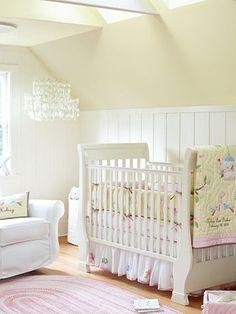 Chandelier For Baby Nursery - Chandelier Girl Nursery Bedding, Baby Bedding Sets, Babies Nursery, Nursery Room, Nursery Decor, Yellow And Pink Nursery, Yellow Walls, Nursery Chandelier, Nursery Inspiration