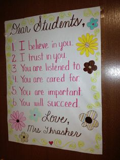 Attached to the outside of the classroom door so the students see this first thing every morning.