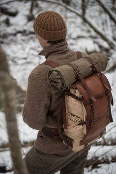 Handcrafted leather and canvas backpack