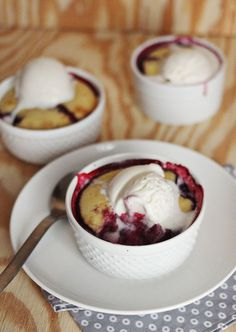 single serving cobbler...blackberry, strawberry, blueberry...yum...how about peaches or apples? Going to have to try them all! Don't forget the ice cream.