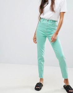 ASOS FARLEIGH High Waist Slim Mom Jeans in Mint Green