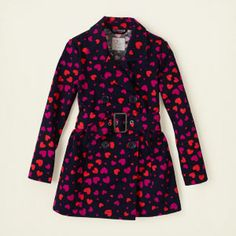 girl - belted heart print trench coat | Children's Clothing | Kids Clothes | The Children's Place