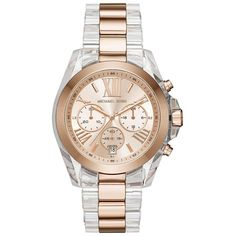 Michael Kors Bradshaw Rose Goldtone & Acetate Chronograph Watch ($295) ❤ liked on Polyvore featuring jewelry, watches, apparel & accessories, rose gold, chronograph watch, chronograph dial watch, roman numeral jewelry, bezel watches and chronograph wrist watch