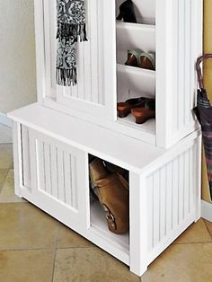 This bench provides just enough storage for an entryway | Solutions.com #Bench #Entryway #Home #Decor