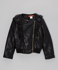 Take a look at this Black Ruffle Faux Leather Jacket - Toddler & Girls on zulily today!