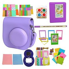 SAIKA Instant Film Camera Accessories Kit Bundles Purple for Fujifilm Instax Mini 8 11 in 1  Case Bag Photo Album Selfie Lens Filters Stickers Film FramesLens Cleaning Cloth Pen ETC ** You can find more details by visiting the image link. (Note:Amazon affiliate link)