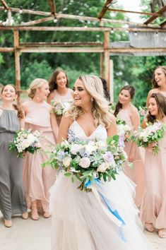 Overflowing bridal #bouquet - pastel white, pink + blue bouquet with greenery and ribbons {Cloud Creative Events}