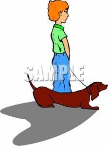 A Boy with His Pet Dachshund - Clipart