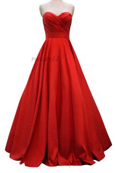 Red glamorous sweetheart satin aline wedding gowns por rosary11, $189.00