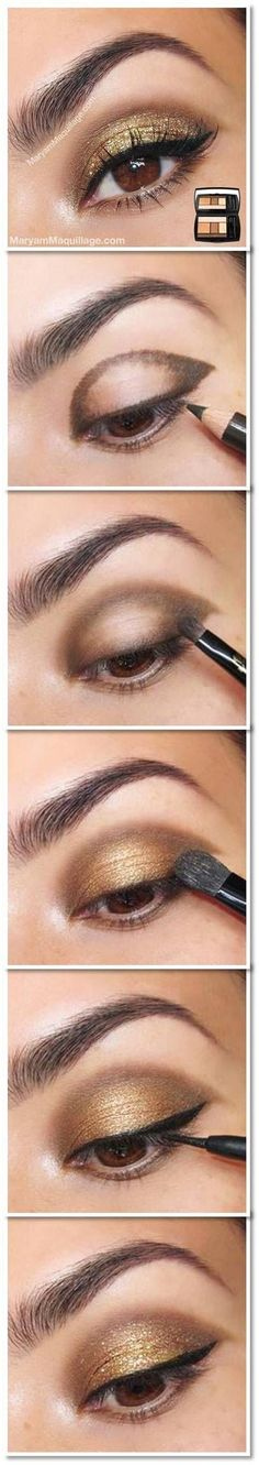 25 Beautiful Eye Make-up Tutorials For Rookies of 2019 Easy Gold Eye Make-up tutorial. Here's a damaged down eye make-up tutorial. What a fantastic technique to get a beautiful eye make-up! Glitter Eye Makeup, Smokey Eye Makeup, Skin Makeup, Gold Makeup, Makeup Eyebrows, Eyebrow Makeup, Glitter Face, Makeup Hacks, Makeup Tips