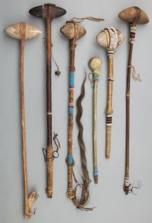 American Indian Art:Pipes, Tools, and Weapons, SIX PLAINS STONE HEAD CLUBS…