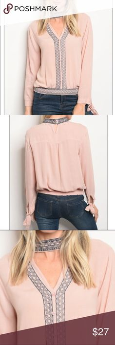 """Blush choker blouse w/ embroidery details, new! Long sleeve top with a v neckline and choker with embroidery details. 100 % rayon. Size small measurements: Description: L: 21"""" B: 32"""" W: 32"""". ❌❌❌///::::::🚧🚨*please note: this item MAY take 7-10 days to ship out!!!⚡️ trendy boutique Tops Blouses"""