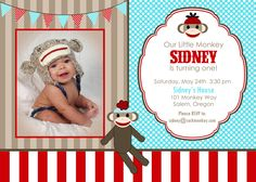 aqua, red + brown sock monkey printables