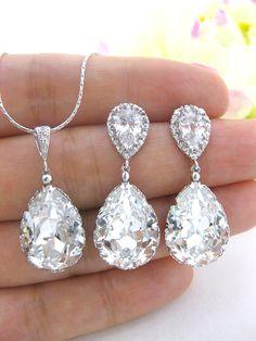 Wedding Jewelry Set Swarovski Crystal Clear by AllYourJewelry