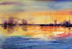 Watercolor landscape ocean water boats shoreline