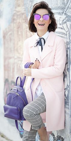 peach coat outfit   pernelle backpack   gentle monster sunglasses   check trousers outfit   spring outfit ideas